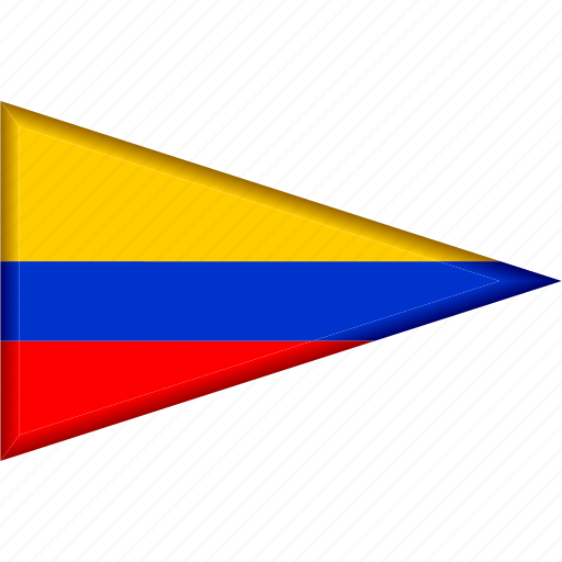 colombia, country, flag, national, pennant, triangle icon