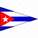 country, cuba, flag, national, pennant, triangle icon