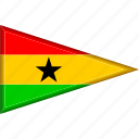 country, flag, ghana, national, pennant, triangle icon