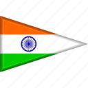 country, flag, india, national, pennant, triangle