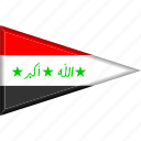 country, flag, iraq, national, pennant, triangle