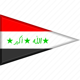 country, flag, iraq, national, pennant, triangle icon