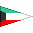 country, flag, kuwait, national, pennant, triangle icon