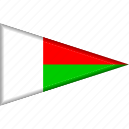 country, flag, madagascar, national, pennant, triangle icon