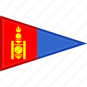 country, flag, mongolia, national, pennant, triangle