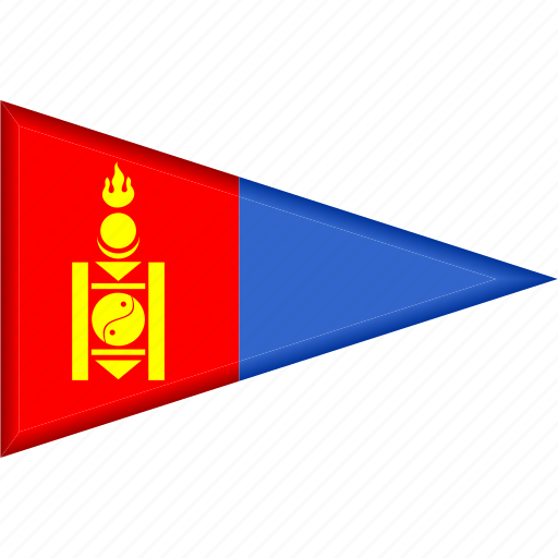 country, flag, mongolia, national, pennant, triangle icon