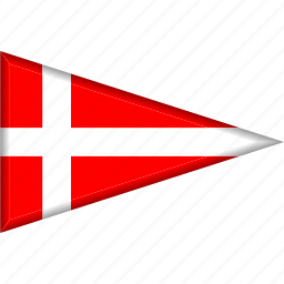 country, denmark, flag, national, pennant, triangle icon