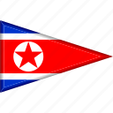 country, flag, national, north korea, pennant, triangle