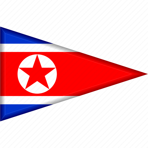 country, flag, national, north korea, pennant, triangle icon