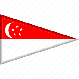 country, flag, national, pennant, singapore, triangle icon