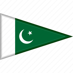 country, flag, national, pakistan, pennant, triangle icon