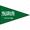 country, flag, national, pennant, saudi arabia, triangle