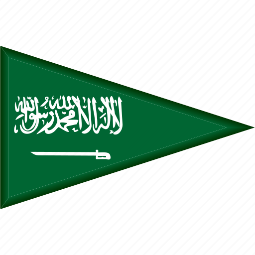 country, flag, national, pennant, saudi arabia, triangle icon