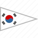 country, flag, national, pennant, south korea, triangle