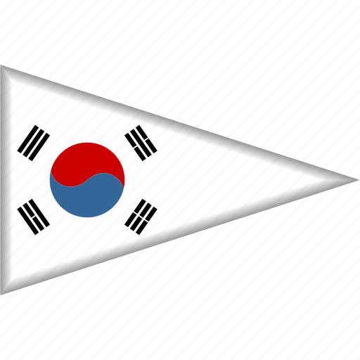 country, flag, national, pennant, south korea, triangle icon