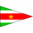 country, flag, national, pennant, suriname, triangle