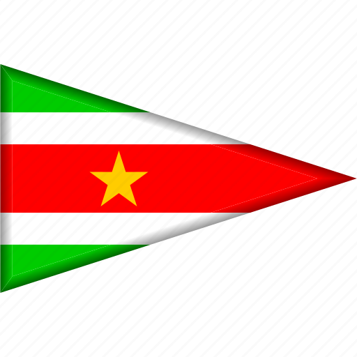 country, flag, national, pennant, suriname, triangle icon