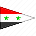 country, flag, national, pennant, syria, triangle