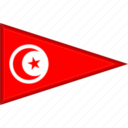 country, flag, national, pennant, triangle, tunisia icon