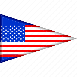 country, flag, national, pennant, triangle, us, usa icon