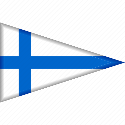 country, finland, flag, national, pennant, triangle icon