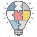 business, creativities, idea, innovation, puzzle, technology icon