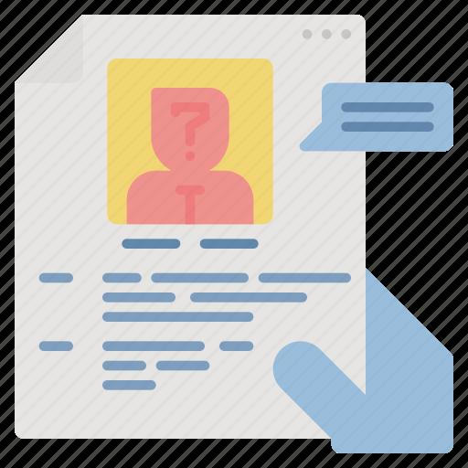 application, cv, hr, job, profile, resume icon
