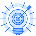 arrow, bulb, creative, focus, idea, light, target icon