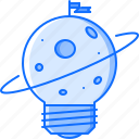 bulb, discovery, flag, idea, planet, space