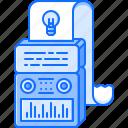 bulb, computer, creative, generator, idea, machine, paper icon