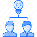 brainstorm, bulb, business, founder, idea, startup, team icon