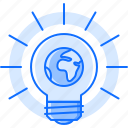 bulb, creative, earth, global, idea, mass, planet icon