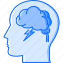brain, cloud, creative, head, idea, lightning, storm icon