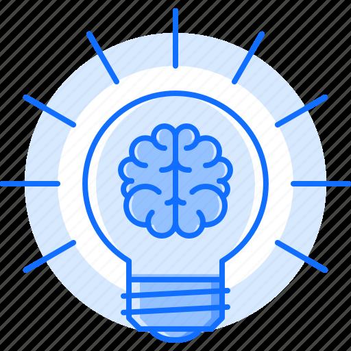 brain, bulb, creative, idea, light, science, smart icon