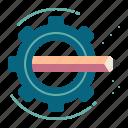 creative, gear, graphic design, motion, pencil, process icon