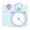 delivery, fast, map, pin, stopwatch, time, timer icon