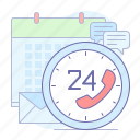 24/7, calendar, chat, email, help, support icon