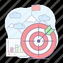 goal, arrow, darts, mountain, target icon