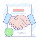 agreement, contract, handshake, paper, sign, signature icon