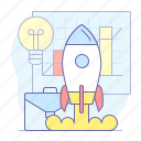 launch, business, rocket, spaceship, stratup icon