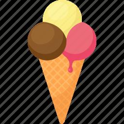 cone, dessert, drip, food, gelato, ice cream, palpable icon