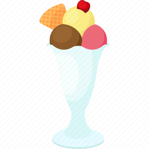 cherry, cookie, coupe, dessert, food, ice cream, palpable icon