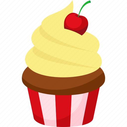 cherry, cream, cupcake, dessert, food, illustrative, palpable icon