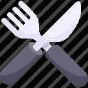 breakfast, food, fork, illustrative, knife, palpable, silverware icon