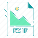 exif, extension, file type, format, image, type icon
