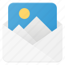 attache, image, mail, photo, photography, picture, send icon