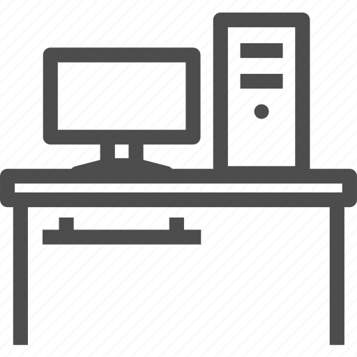 computer, desktop, office, station, table, work icon