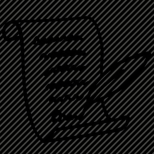 bill, constitution, document, pen, sign, write icon