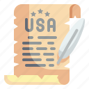 declaration, independence, usa, quill, history