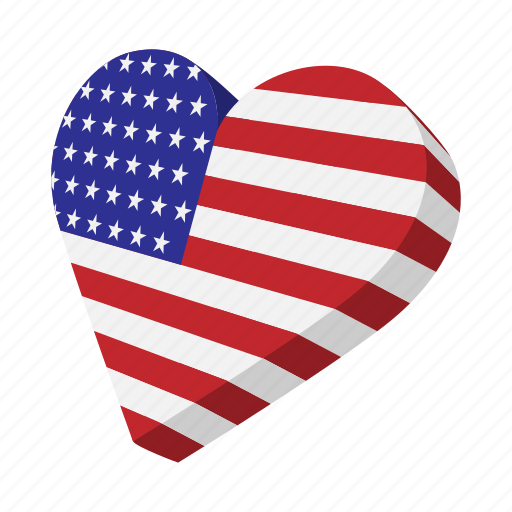 american, cartoon, heart, independence, july, love, usa icon